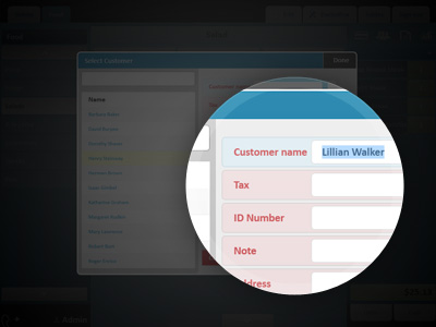 Entry of customers data